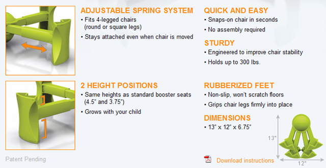 kaboost portable chair booster review ourkidsmom. Black Bedroom Furniture Sets. Home Design Ideas