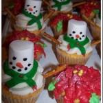 Winter Snowmen & Poinsettia Cupcakes