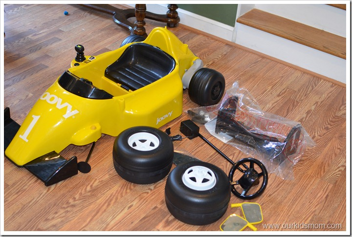 yellow race car parts