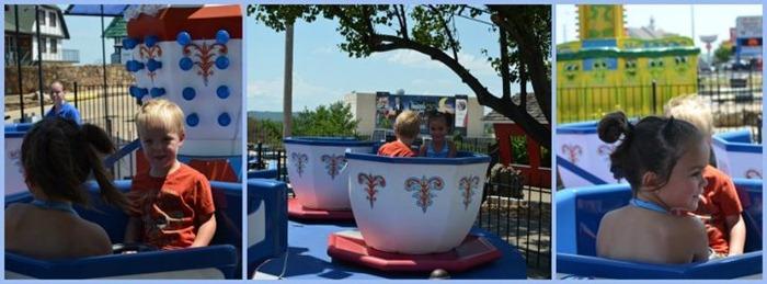 kids riding teacups