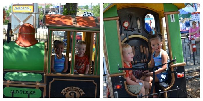 kids on a train ride