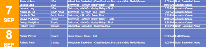 paralympics schedule