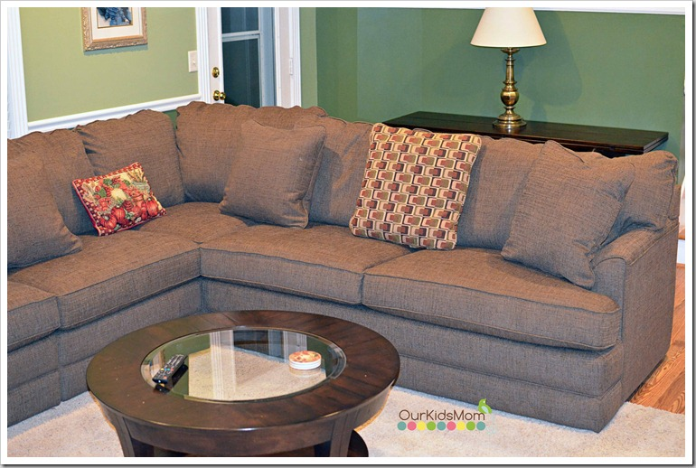 La-z-boy also offers a full line of accessories to finish your living room  look. We finished ours off with a round coffee table and a expandable sofa  table. - Home Makeover Our New La-Z-Boy Living Room - OurKidsMom