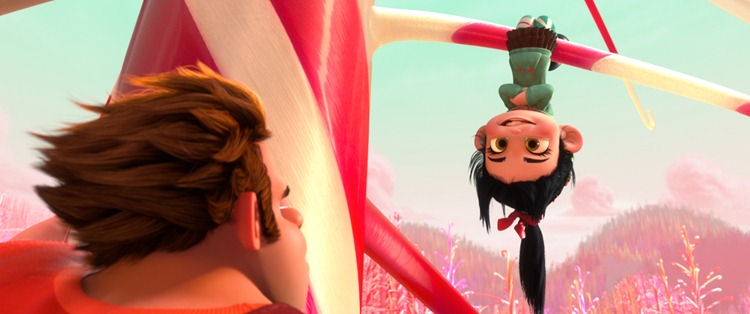 """""""WRECK-IT RALPH""""   (L-R) RALPH (voice of John C. Reilly) and VANELLOPE VON SCHWEETZ (voice of Sarah Silverman) in the video game world of Sugar Rush.  ©2012 Disney. All Rights Reserved."""