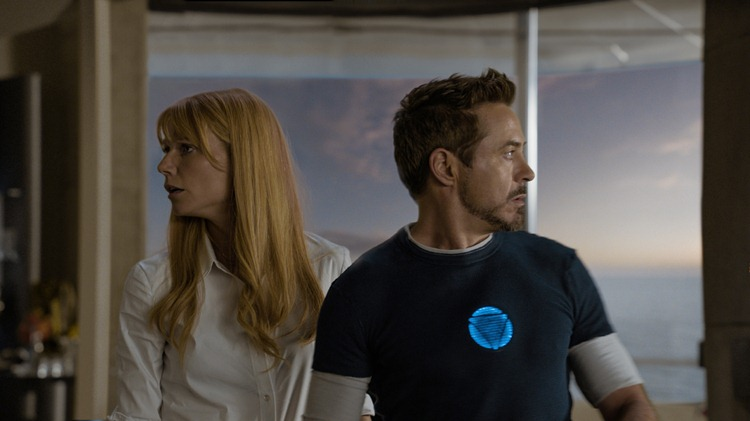 """Marvel's Iron Man 3""  L to R: Pepper Potts (Gwyneth Paltrow) & Tony Stark/Iron Man (Robert Downey Jr.)  Ph: Film Frame  © 2012 MVLFFLLC.  TM & © 2012 Marvel.  All Rights Reserved."