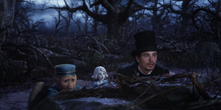"""OZ: THE GREAT AND POWERFUL""  Finley (voiced by Zach Braff), left; China Girl (voidced by Joey King), center;  James Franco, right  ©Disney Enterprises, Inc. All Rights Reserved."