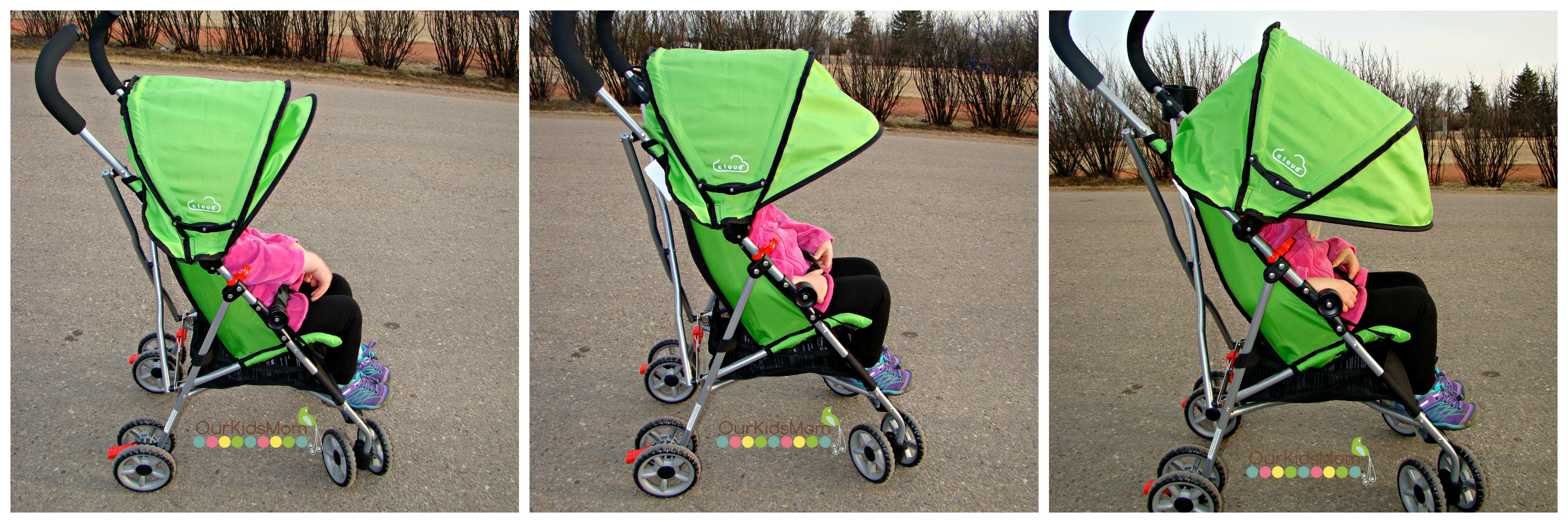 Canopy position & Kolcraft Cloud Umbrella Stroller