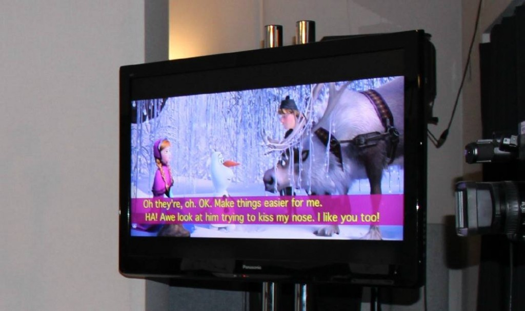 Frozen voiceover booth screen